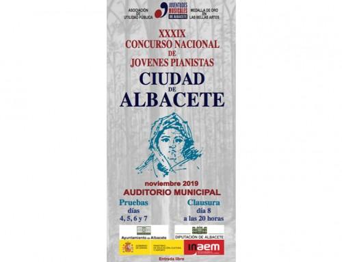 """XXXIX Concurso Nacional de Jóvenes Pianistas """"Ciudad de Albacete"""""""